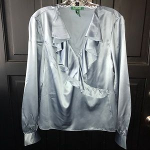 Ralph Lauren silver-gray satin, wrap style blouse.